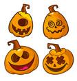 set of scary halloween pumpkins head vector image