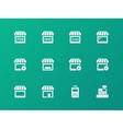 Shop icons on green background vector image