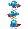 Super Blue Birds Set 2 vector image