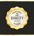 Gold badge with black text isolated vector image