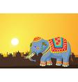 Cartoon elephant wearing traditional costume vector image