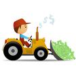 cartoon bulldozer vector image vector image