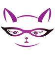 Kitty face with glasses vector image