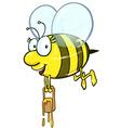 Bee cartoon holding honey bucket vector image