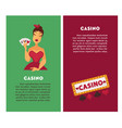 casino vertical posters with female player and vector image