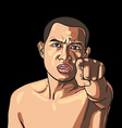 Man pointing his finger with angry face vector image