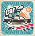 Retro car wash poster vector image