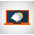 laptop technology weather forecast cloud sun icon vector image