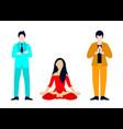 flat yoga meditation set vector image vector image
