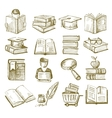Hand draw books vector image