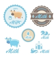 Set of labels and symbols for milk in vector image