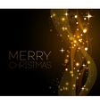 Merry Christmas gold greeting card with vector image