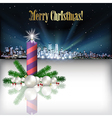 Abstract Christmas with silhouette of city and vector image