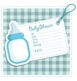 Blue bottle baby shower card vector image