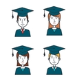 cartoon group student graduation graphic isolated vector image