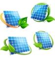 Cartoon solar panel with leafy frames vector image