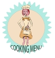 Character girl logo cooking drawing vector image