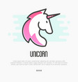 head silhouette of unicorn with pink mane vector image