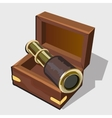 Vintage telescope in a brown box vector image