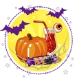 set of icons cocktails and pumpkin for Halloween vector image