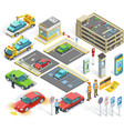 1611i201008Pm003c23Parking set isometric objects vector image