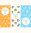 sweets and bakery candy banner flyer vertical set vector image