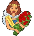 Woman With Bouquet vector image