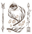 Arrows antlers gems and all-seeing eye collection vector image