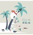 Cute polar bear climbed a palm tree vector image
