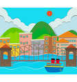 City view with buildings and bridge vector image