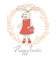 Cute Easter card with hand drawn bunny vector image