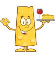 Cheese Cartoon Serving Wine vector image vector image