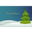 Christmas tree on blue background card vector image