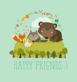 happy friends in the forest bearfoxrabbit wolf vector image