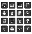 Icons of office devices and equipment with dark vector image