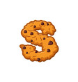 s letter cookies cookie font oatmeal biscuit vector image