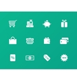 Shopping icons on green background vector image