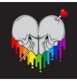 Skull heart shape vector image