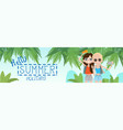 two girls on summer beach vacation concept seaside vector image