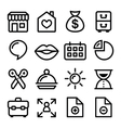 Website menu navigation line icons - online shop vector image