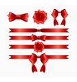 Red Ribbon and Bow Set for Birthday and Christmas vector image