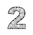 Hand drawn floral alphabet design Digit 2 vector image