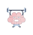 Brain In Gym Doing Weight Lifting Comic Character vector image
