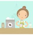 Cute girl barista preparing drink at the counter vector image