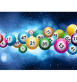bingo balls on a glowing blue background vector image vector image