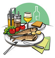 fried fish and vegetables vector image vector image