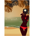 sunset tropic beach vector image vector image