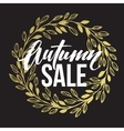 Autumn hand written lettering Golden black and vector image