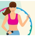 Beautiful woman exercising with hula hoop vector image