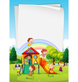 Border design with children in the playground vector image